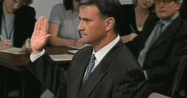 Jack Abramoff testifying at his trial, where he was sentenced to 4 years in Prison for corruption.