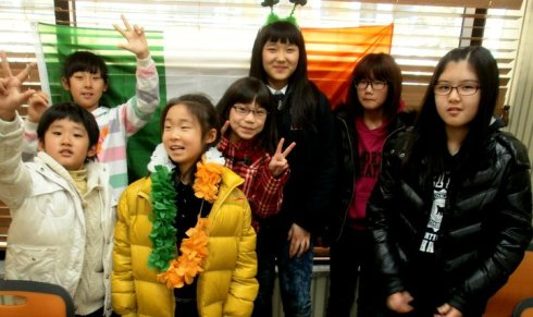 My students in Korea enjoying St Patrickd Day decorations!