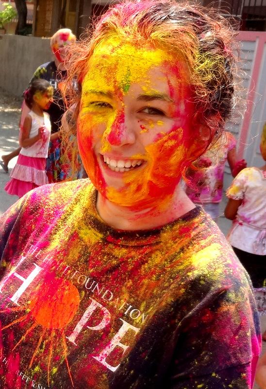Volunteer Niamh enjoying Holi