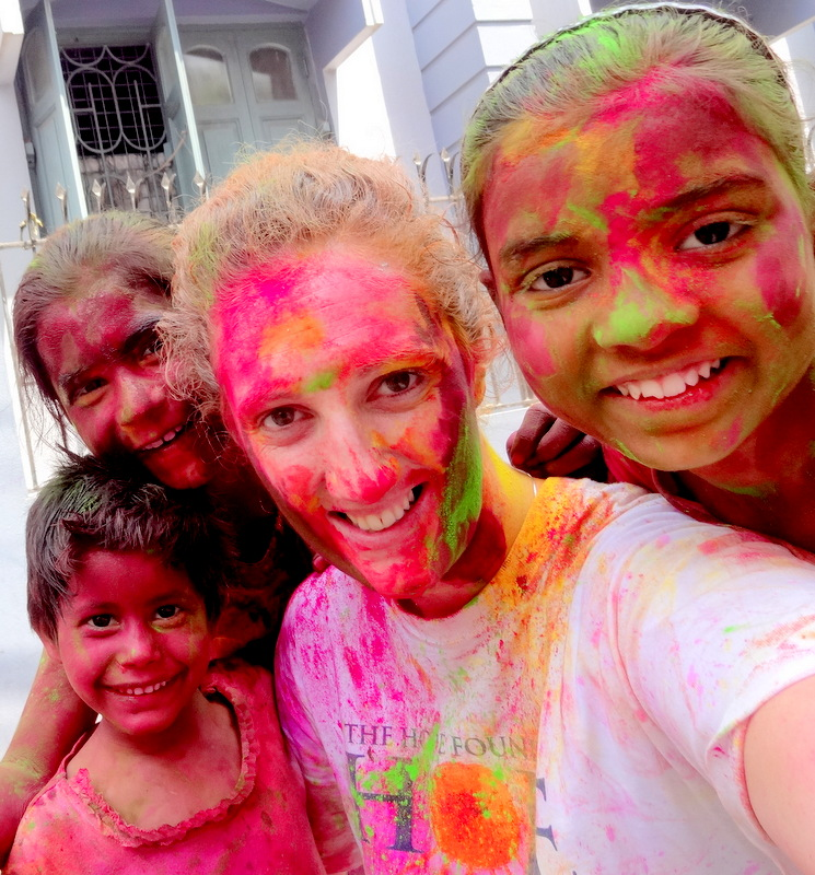 Me and some of the girls from Kasba enjoying Holi celebrations!