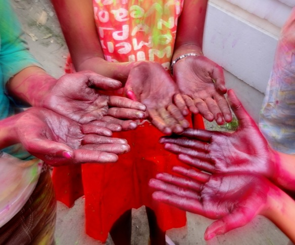 Hands in - the aftermath of the red dye!