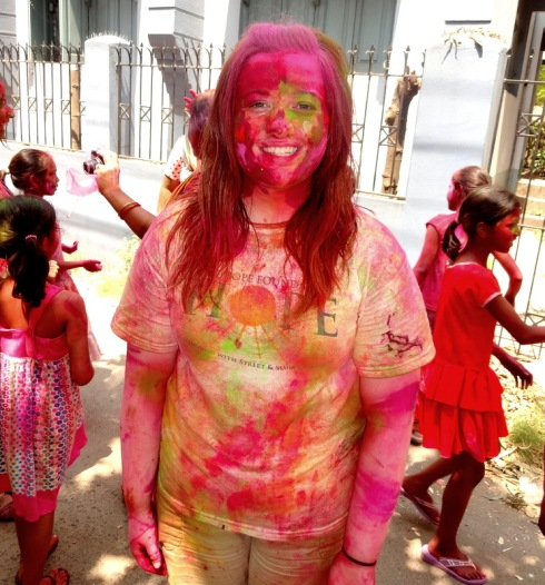 Another volunteer enjoying the Holi celebrations!