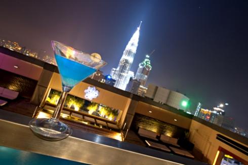 Enjoying a Cocktail at Luna Bar