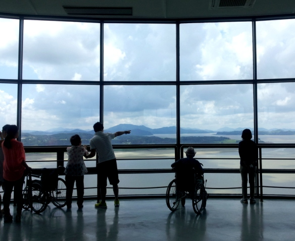 Visitors young and old enjoying the views from the observatory