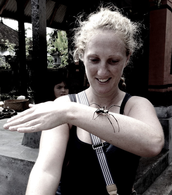 Playing with spiders in Ubud!
