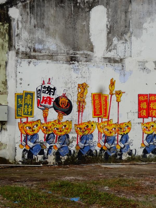 cats temple penang street art