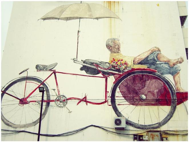 rickshaw bike street art penang