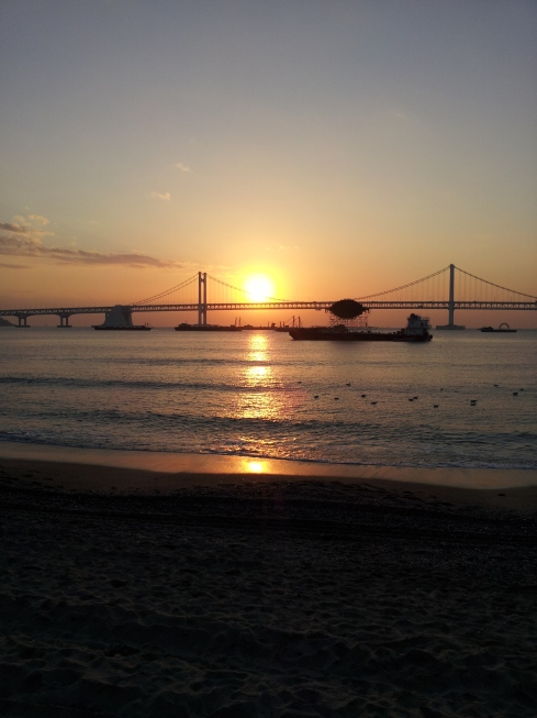 Sunrise on Gwangali Beach, Busan