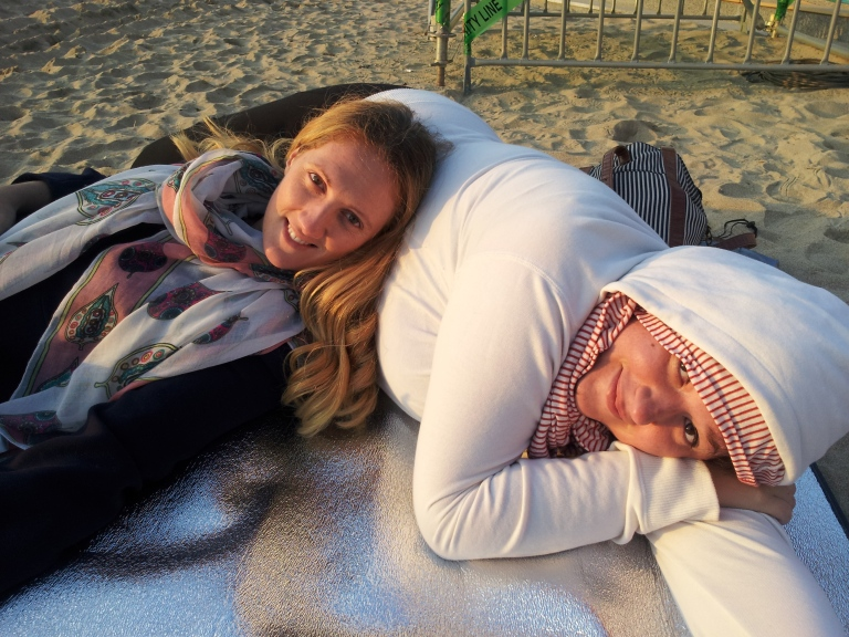 Myself and Stephanie enjoying the sunrise and nap time circa 6am on Gwangali Beach