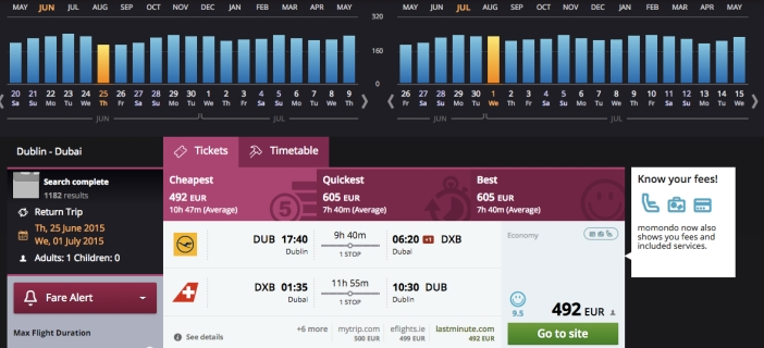 momondo shows you a range of dates as well as the cheapest, quickest and best flights available.