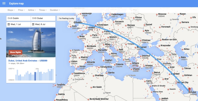 Google flights' very visual flight map